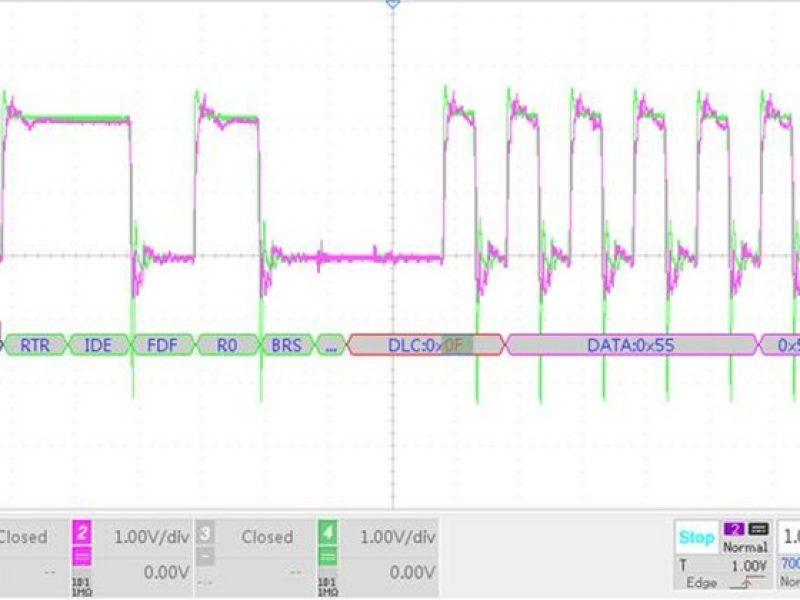 浪涌電路加入電感波形對比